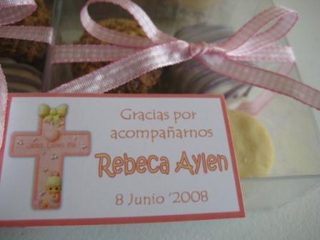 Detalle de la tarjeta – Recuerdos para bautizo « Tatakuá Alfajores