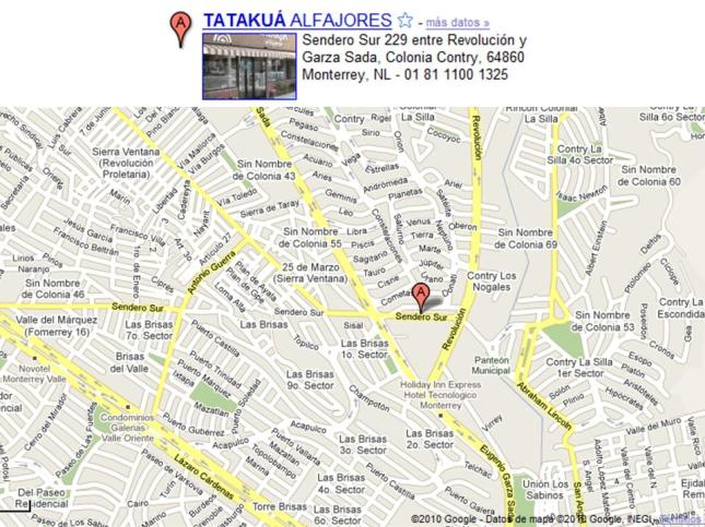 Mapa Tatakuá alfajores Contry